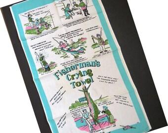 Vintage Fishermans Crying Towel Tea Towel - Novelty Dish Towel - Fishing Tales - Collectible - Gag Gift - Mid Century Modern Graphics - Aqua