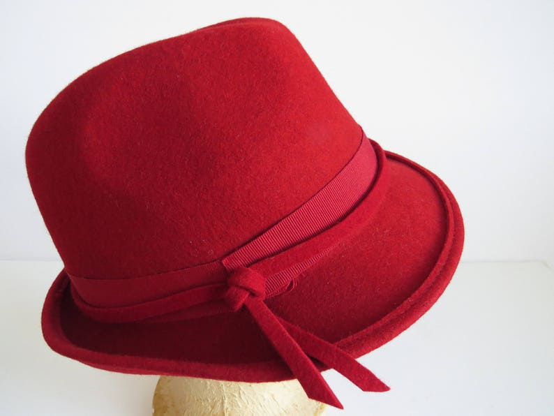 1960s Ruby Red Wool Fedora Hat by Nordstrom Womens Winter  447bbe6789c