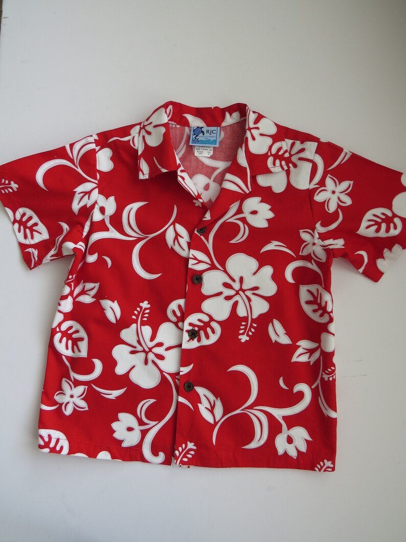 83606a6fac Little Boys Aloha Shirt by RJC Hawaii - Size 6 - White Hibiscus Flowers on  Bright Red - Hawaiian Wear - Summer Vacation Cruise