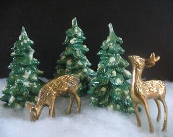 Vintage Ceramic Flocked Christmas Trees - Set of Three