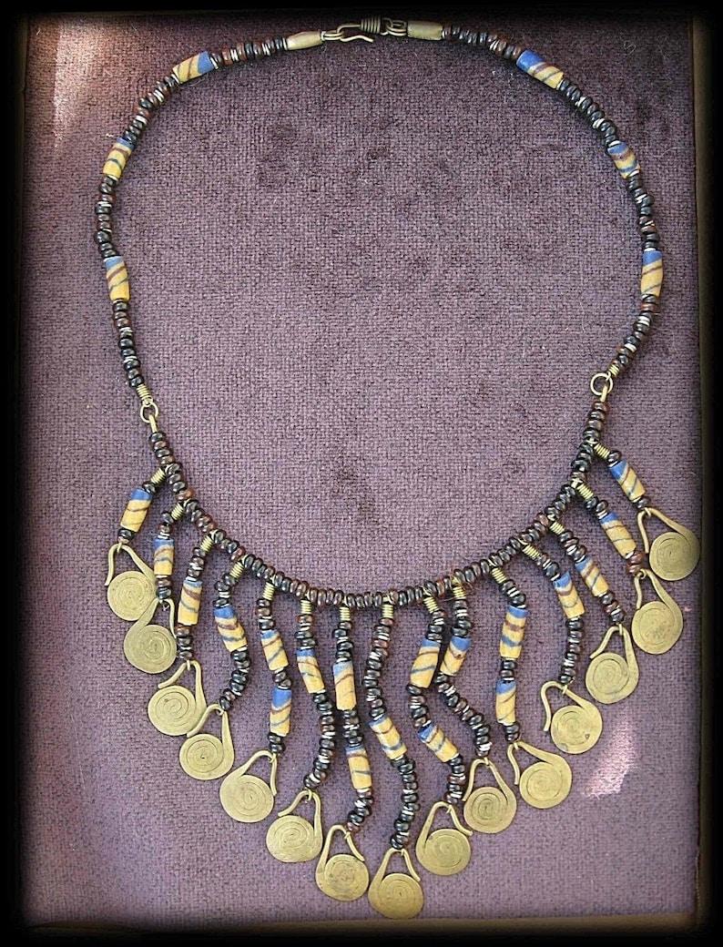Bedouin Necklace Handmade Beads Glass /& Clay Brass Dangle BOHO Ethnic Tribal