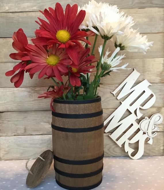 Wooden Barrel Wedding Flower Centerpiece Farmhouse Etsy