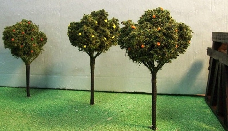 Model Railroading MINIATURE FRUIT TREES for Teachers Party Centerpiece--  Choose Apple  Orange  Lemon Wedding Favors Architechture