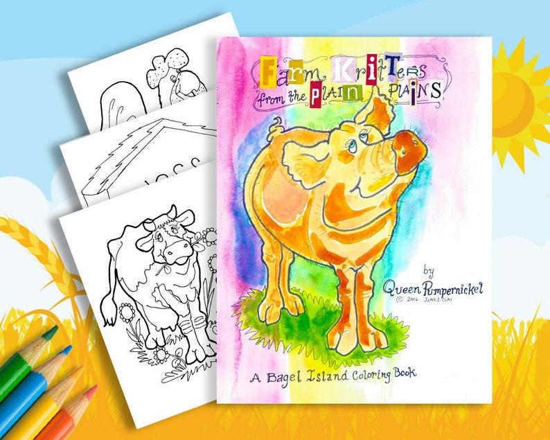 Childrens Digital PDF Coloring book 3 Farm Animal Masks | Etsy