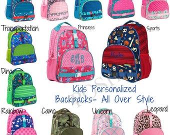 Kids Backpack / Monogrammed kids backpack / Girls backpack / boys backpack / All Over style backpack