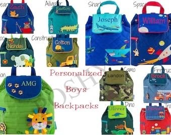 Monogrammed Stephen Joseph Quilted Backpack / Children and Toddler Backpack / Personalized / Choose from 42 Patterns / Boys and Girls