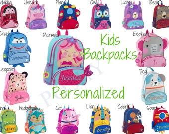 Monogrammed Kids Backpack , Personalized Toddler Backpack, Stephen Joseph Sidekicks Toddler Girls Boys 12 different designs