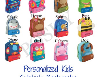 Personalized Backpack , Personalized Toddler Backpack, Stephen Joseph Sidekicks Toddler Girls Boys 12 different designs