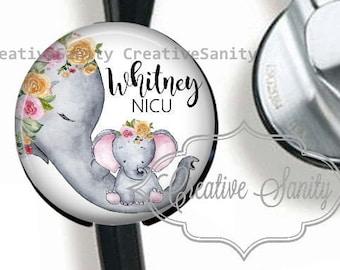 Stethoscope ID Tag, NICU Nurse Elephant, Labor & Delivery Nurse, Floral Elephant Tag, Nurse Stethoscope ID Tag, Fits Most Stethoscopes