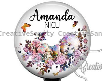 Baby In Flowers NICU Badge, Labor and Delivery Badge, Mom and Baby, Nurse Badge, Retractable Badge Reel, Carabiner, Lanyard