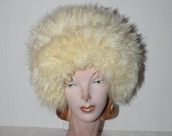 Mod 60s Italian Lamb Fluffy Hat Wild Fun Kitch Winter Wear