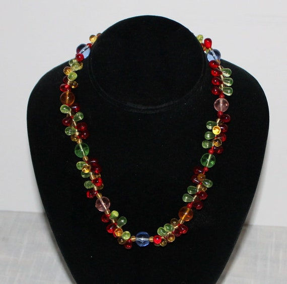 1930's Uranium Glass Fruit Salad Necklace