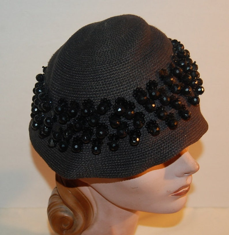 30e1cb73397 1930s Cloche Knit Beaded Black Sequin Vintage Hat by Suzy