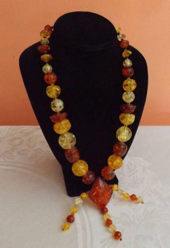 Vintage Plastic Necklace Lucite Necklace Multi Strand Necklace Butterscotch The Wild Vintage Rose