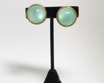 Vintage Moon Glow Earrings Mint Green Lucite 1950s
