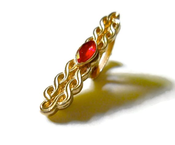 Art Deco Tie Clip 1940s Red Rhinestone Art Deco