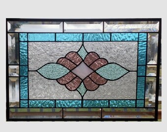 Victorian stained glass panel window hanging pastel stained glass window panel transom large stained glass window hanging 0328 19 1/2 x 13