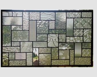 Clear stained glass panel window geometric abstract stained glass window panel window hanging home decor 0362 18 1/2 x 11 1/2