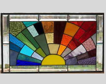 2a7ae4bb054 Stained glass panel window medium rainbow arch geometric stained glass  window panel abstract suncatcher beveled glass 0445 21 1 2 x 12 1 2