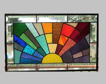 Beveled stained glass window panel rainbow arch geometric stained glass panel window hanging abstract 0475 18 1/2 x 11 1/2