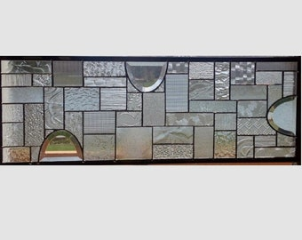 Clear glass transom stained glass window panel geometric abstract stained glass panel window panel large 0353 28 3/4 x 10
