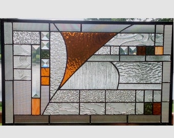 Geometric abstract stained glass panel window hanging stained glass window panel amber 0368 19 1/2 x 12