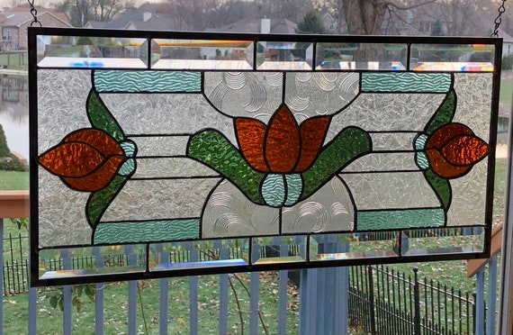 Stained Glass Window Art.Beveled Stained Glass Panel Window Art Deco Amber Flower Stained Glass Window Panel Window Hanging 0411 23 1 2 X 11 1 2