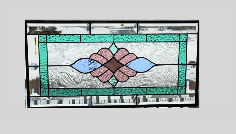Victorian pastel stained glass panel window hanging stained image 0