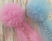 Pom Pew Bows, Tulle and Pearl Bows, Church Pew, Pew Bows, Aisle Decor, Quinceanera, Chair Hangers, Choose from OVER 30 COLORS