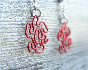 Fractal Earrings - Peano-Gosper in Red