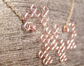 Fractal Necklace - Dragon Curve in Frost Pink