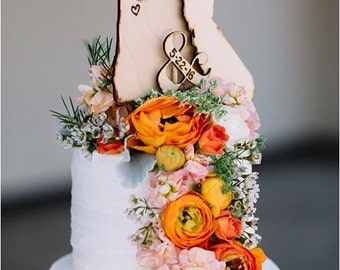 Wedding cake toppers • Long distance relationship • transplant • USA • state • relocation • hometown • wood • 3pc set • getting married •