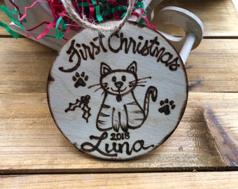 Personalized CAT Christmas Ornament with a Cute Cat Paw Prints and their Name • Holiday First Christmas • Forever Home