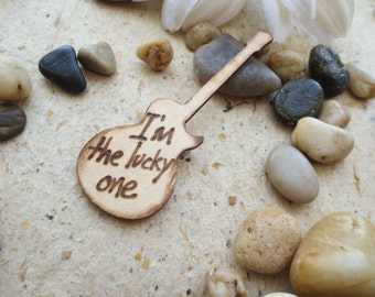 """Groom Lapel Pin Wedding Decoration Guitar Pin """"I'm the Lucky One"""" Wood Pin Alternative to a Flower"""