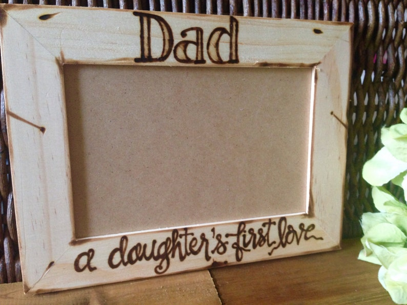 New Dad baby girl Father /& Daughter Dance Custom Rustic Wood Pic Frame for Dad # A Daughter/'s First Love holds 4x6 photo Fathers Day