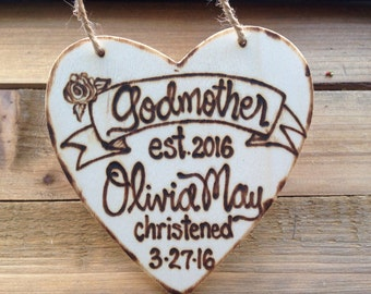 Godmother gift Mother's Day Gift Holiday ornament Christening Godparents Christmas Baptism Religious New Baby Godfather Personalized