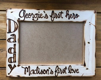 Custom Picture Frame for DAD From His Son and Daughter Personalized with their Names Hand Engraved