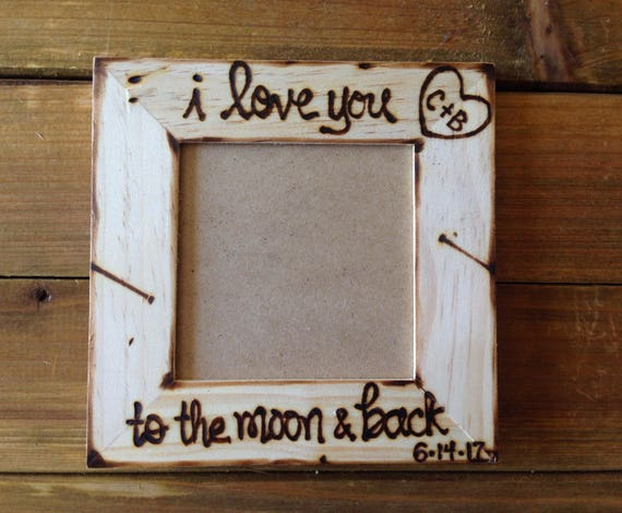 Valentines Day I Love You To The Moon Back Personalized Wood Etsy