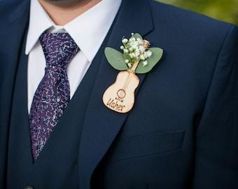 SET of 4 Guitar Lapel Pins Best Man Groom & Groomsman Country Wedding Rustic Wedding Decoration Boutonniere Alternative Groom's Pins -