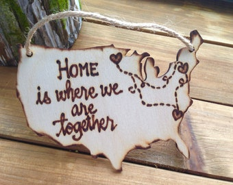 Ornament USA Christmas Ornament Gift Tag Home is Where We Are Together New Home Your States Transplants Military Families Quarantine