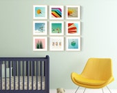 nursery art nursery print set modern nursery california surfer beach baby - Set of NINE prints
