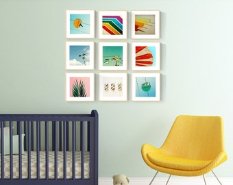 nursery art // nursery print set // modern nursery // california surfer beach baby - Set of NINE prints