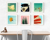 modern art print set beach california art prints palm tree wall art photography - santa cruz photography art print set