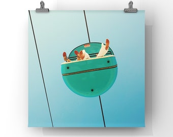 playful art print / modern nursery wall art decor / bright blue modern / mid century art print - Aqua, print or canvas // CUSTOM SIZES