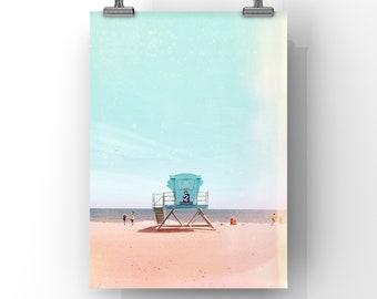 beach art // lifeguard art print // california beach // santa cruz art // large modern wall art - June Days, print or canvas // CUSTOM SIZES