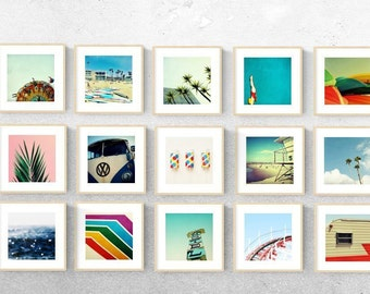 wall art set // photography set // print set // bright modern art set installation // Set of TWENTY ONE art prints, 10X10 inch each