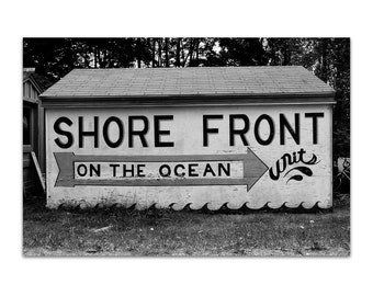 black and white photography, beach art, black white print, maine motel - Shore Front, 8x12 photograph print