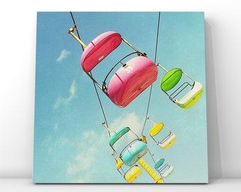 playful artwork / modern nursery decor / boardwalk carnival pink yellow // carnival photography - Number 35, print or canvas // CUSTOM SIZES