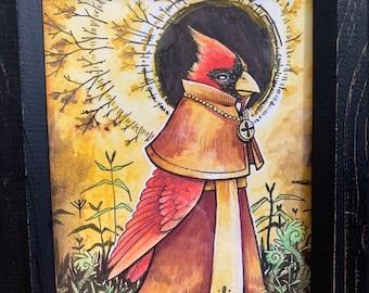 Cardinal Cardinal - 2 FREE PRINTS - art - ink drawing - watercolor - medieval - gift idea - charming - animal - bird - pun - illustration