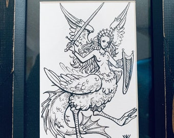 Vengeful Chicken - +2 FREE PRINTS - art - ink drawing - woman - medieval - gift idea